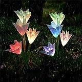 Led Solar Lily Flower Lichter Farbwechsel Outdoor Garten Stake Lampen Größere Blumen Und Breiter...