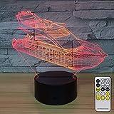 jiushixw 3D Acryl Nachtlicht mit Fernbedienung Farbe Tischlampe Yacht Kinderprodukte Baby hat EIN...