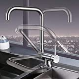 Küchenarmatur vor dem Fenster, klappbares Innenfenster zum Drehen, 304 Edelstahlspüle Spüle...