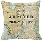 HGFK Kissenbezug Nautical Chart Latitude Longitude Jupiter, Florida Throw Pillow Cover 16 x 16in