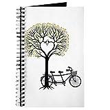 CafePress – Herzbaum mit Vögeln und Tandem Fahrrad – Spiralgebundenes Tagebuch, persönliches...
