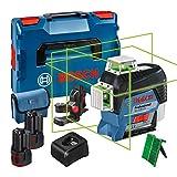 Bosch Professional 12V System Linienlaser GLL 3-80 CG (2x Akku 12 V, Ladegerät, grüner Laser, mit...