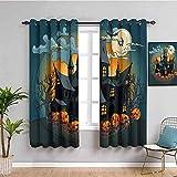 Azbza Wohnzimmer Vorhang Blickdicht - Dunkel Animation Halloween Urlaub - 90% Sichtschutz Vorhang...
