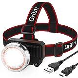 Stirnlampe LED, Gritin Super Hell LED Kopflampe USB Wiederaufladbar mit Bewegungssensor,...