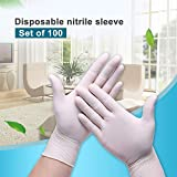 100 Einmalhandschuhe, weiß Handschuhe aus Nitril, Haushaltslebensmittelreiniger, Spülmaschinen...