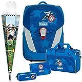 FUßBALL Star - Soccer Kicker - Scout Sunny II Schulranzen-Set 5tlg. mit Sporttasche - SCHULTÜTE...