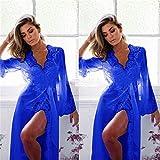 cottonlilac Sexy Grenadine Langes Kimono-Kleid, einfarbig, Spitze, Bademantel, Dessous, Nachthemd,...
