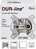 DUR-line Antennendose 3-Loch SAT | Kabelfernsehen | DVB-T | Radio | Unicable für Aufputz und...