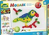 Lena 35614 Steckmosaikspiel Steckern, Mosaiksteine mit  von 5 mm, 10 mm und 15 mm, Mosaikspiel mit 4...