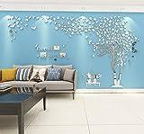 Baum Wandaufkleber Wandtattoo 3D DIY Sticker mit Familie Bilderrahmen Fotorahmen Wandbilder...