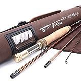 MAXIMUMCATCH V-Gold Fliegenrute IM12 Graphit 4 Teile Fliegenfischen Rute mit Cordura Rohr Angelrute...
