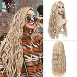 24' Blonde Welle Lace Front Perücken, GLAMADOR Langes Blondes Gelocktes Haar Für Frau,...