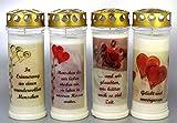 Kerzen Junglas 4 Grablichter, Grabkerzen, 4er Set- 21x7,5 cm - 3788-7 Tage Brenndauer je Grablicht...