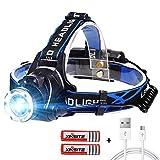 Stirnlampe LED USB Wiederaufladbare Kopflampe mit Sensor Wasserdicht Zoombar Stirnlampe fr Laufen...