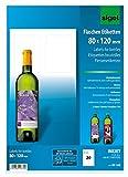 SIGEL DE160 Flaschenetiketten, 20 Stück, hochweiß, für Ink (A4 Papier, hochglänzend, 80 x 120...