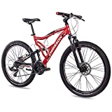 CHRISSON 26 Zoll Mountainbike Fully - Emoter rot - Vollfederung Mountain Bike mit 21 Gang Shimano...