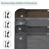 BelleMax Balkon Sichtschutz Balkonverkleidung Kunststoff mit Ösen und Kordel 85% UV-beständig...