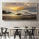 QWESFX Öl Pianting Poster und Drucke Wandkunst Leinwand Malerei abstrakte Seestück Sonnenuntergang...