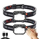 Stirnlampe 2 Stück,Superheller Bewegungs Sensor1500 Lumens 11Modi Kopflampe,USB Wiederaufladbare...