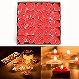 Gearmax 50er Teelichter Set Romantische Hochzeit Herz Kerzen (Rot)