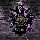 Klassisches Jazzmusikbandlogosaxophon LED helles Vinylaufzeichnungswanduhr modernes helles...