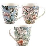 MAIKAI 3er Set XL Jumbotassen Blumen Pastell Große Kaffeebecher Ca. 450ml Weiß 3 Unterschiedliche...