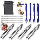 Hummerbesteck Set, 12 Stück, Meeresfrüchte Werkzeuge Set für Krabbe Hummer, 4 Krabben-Zangen + 4...