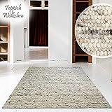 Handweb-Teppich | Reine Schur-Wolle im Skandinavischen Design | Wohnzimmer Esszimmer Schlafzimmer...