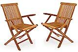 DIVERO 2er-Set Klappstuhl Teakstuhl Gartenstuhl Teak Holz Stuhl mit Armlehne für Terrasse Balkon...