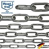 NietFullThings 100-cm = 1-Meter 4-mm Starke Edelstahl-Kette V4A Lang-gliedrig Stueck Anker-Kette DIN...