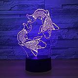 BFMBCHDJ Schwimmen fisch 3D Lava Lampe Kreative 7 Farbwechsel 3D LED Nachtlicht RGB Stimmung...