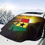 MoonW Auto Windschutzscheibe Schneedecke Ghana Flagge Karte Frostschutzfolie, Eisdecke, Auto...