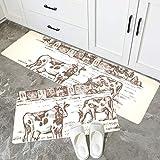 JINCAII Farbe Küchenteppich handgezeichneten Vintage Kuh Feld Decke weiche Wa rutschfeste Teppich...