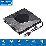 Externes DVD Laufwerk USB 3.0/Typ-C,Tragbarer DVD RW CD Brenner/niedriger Lrm/Plug&Play/Slim...