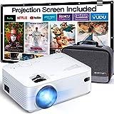 Beamer APEMAN Mini Beamer Support 1080P FHD Video Projektor mit Tasche mit 100 Zoll Screen...