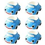 QAX Lustiges Porzellan-Eierbecher-Set für Kinder, blaues Auto, 6 Stück