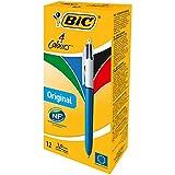 BIC 889969 4-Farb-Kugelschreiber, Rot, Blau, Schwarz & Grün, Strichstärke 0,4mm, 12 Stück