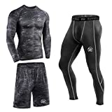 MEETEU 3pcs Funktionsshirt Herren, Kompression Set Funktionswäsche, Laufhose Tights Herren Leggings...