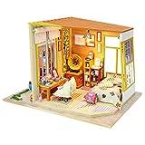 DIY Holz Haus Kit,Häuser für Minipuppen,DIY Miniatur Loft Puppenhaus Kit Realistische Mini 3D...