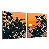 Herdabdeckplatte Ceranfeld 2-Teilig 2x40x52 Landschaft Orange Kochplatten Deko