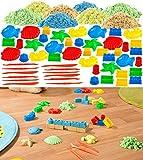 Playtastic Dynamic Sand: Kinetischer Sand in 8 Farben, je 300 g, mit Sand-Formen & Werkzeug...