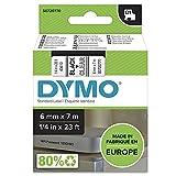 DYMO D1-Etikettenband Authentisch | schwarzer Druck auf transparentem Untergrund | 12mm x 7m |...