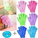 12 Stück Peelinghandschuhe für Körper + 1 Stück Elastisch Duschhaube, MOOKLIN Doppelseitige...
