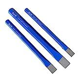 S&R Meißel, Handmeissel, 3-teiliges Set, aus Chrom-Vanadium Stahl, Flachmeißel geschmiedet und...