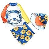 AMIYAN Baby Jungen Schwimmanzug Zweiteilig Badeanzug mit Löwe Motiv Bademode mit Badekappe für...