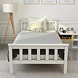 ModernLuxe Einzelbett, Holzbett aus Bettgestell mit Lattenrost Holzbett mit Kopfteil - Massivholz...