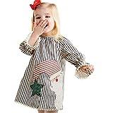 VESNIBA Kleinkind Kinder Baby Mädchen Santa Striped Princess Kleid Weihnachtsoutfits Kleidung
