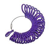 NIUPIKA Fingermessringe, Messgerät für Ringe, 27 Stück, Kunststoff violett