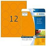 HERMA 5153 Neon-Etiketten DIN A4 (Ø 60 mm, 20 Blatt, Papier, matt, rund) selbstklebend, bedruckbar,...