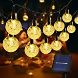 Usboo® Solar Lichterkette, 10 Meter 60 warmweiße LEDs für Innen & Außen mit Kristallkugeln,...